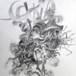 Bolduc, crayons, pierre noire, 30x40cm, nov 2014