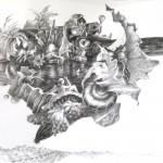 Brigitte au bain, crayons, pierre noire, 40x50cm, nov2014