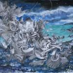 Corne de brume, crayons, aquarelle, encres, 40 x 50 cm, 2017