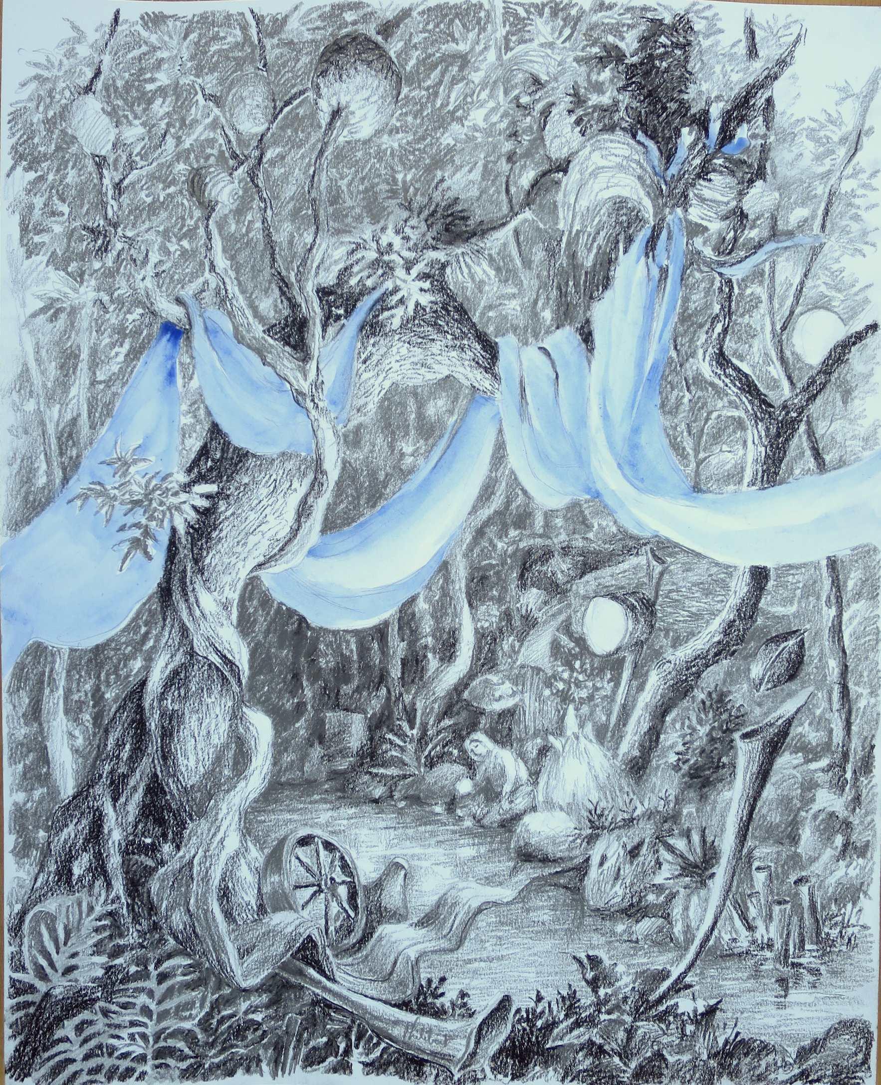 réveillon bleu, crayons, pierre noire, aquarelle, 40 X 50 cm, 2019