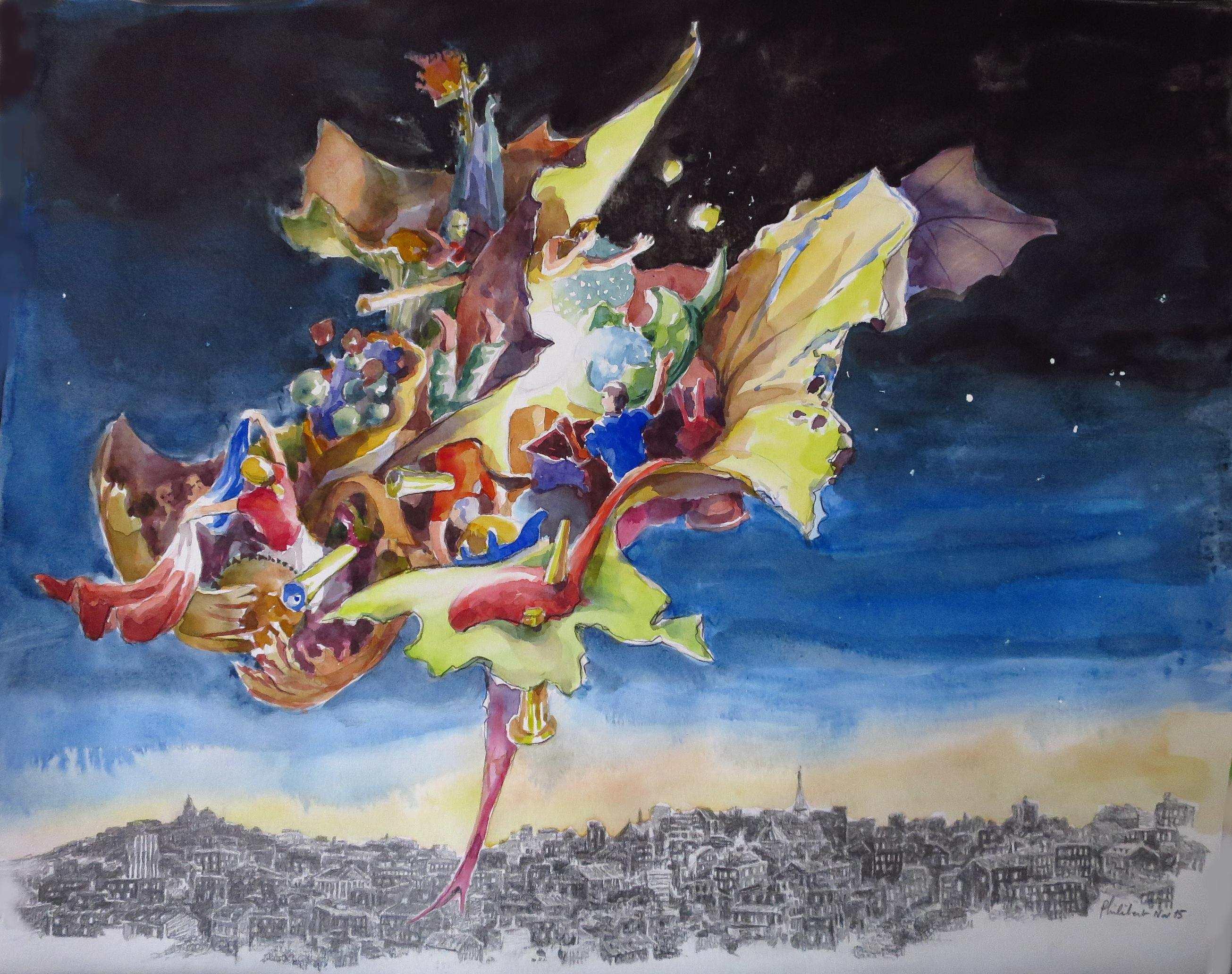 Paris brûle-t-il? Après le 13 novembre 2015, aquarelle et crayons, 40x50cm