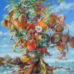 arbre du bord de mer, huile sur toile, 65X54CM,  juill2013