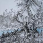 Riverside blues, crayons, pierre noire, aquarelle, 40 X 50cm, 2018