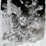 Souvenir, Jumièges, crayons et encre, 25x32cm,2013