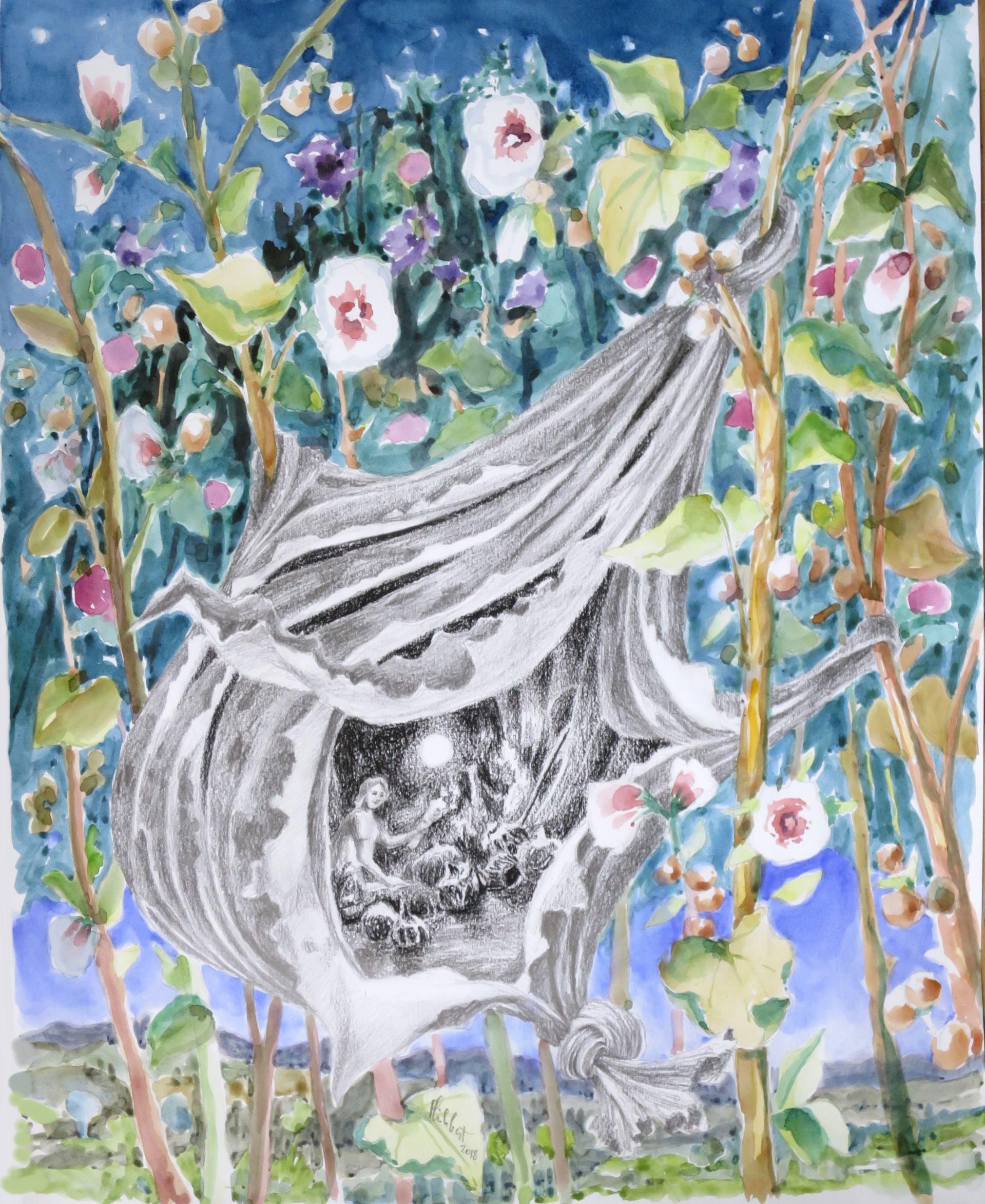 Sur les roses, 40 x 50 cm, août 2018