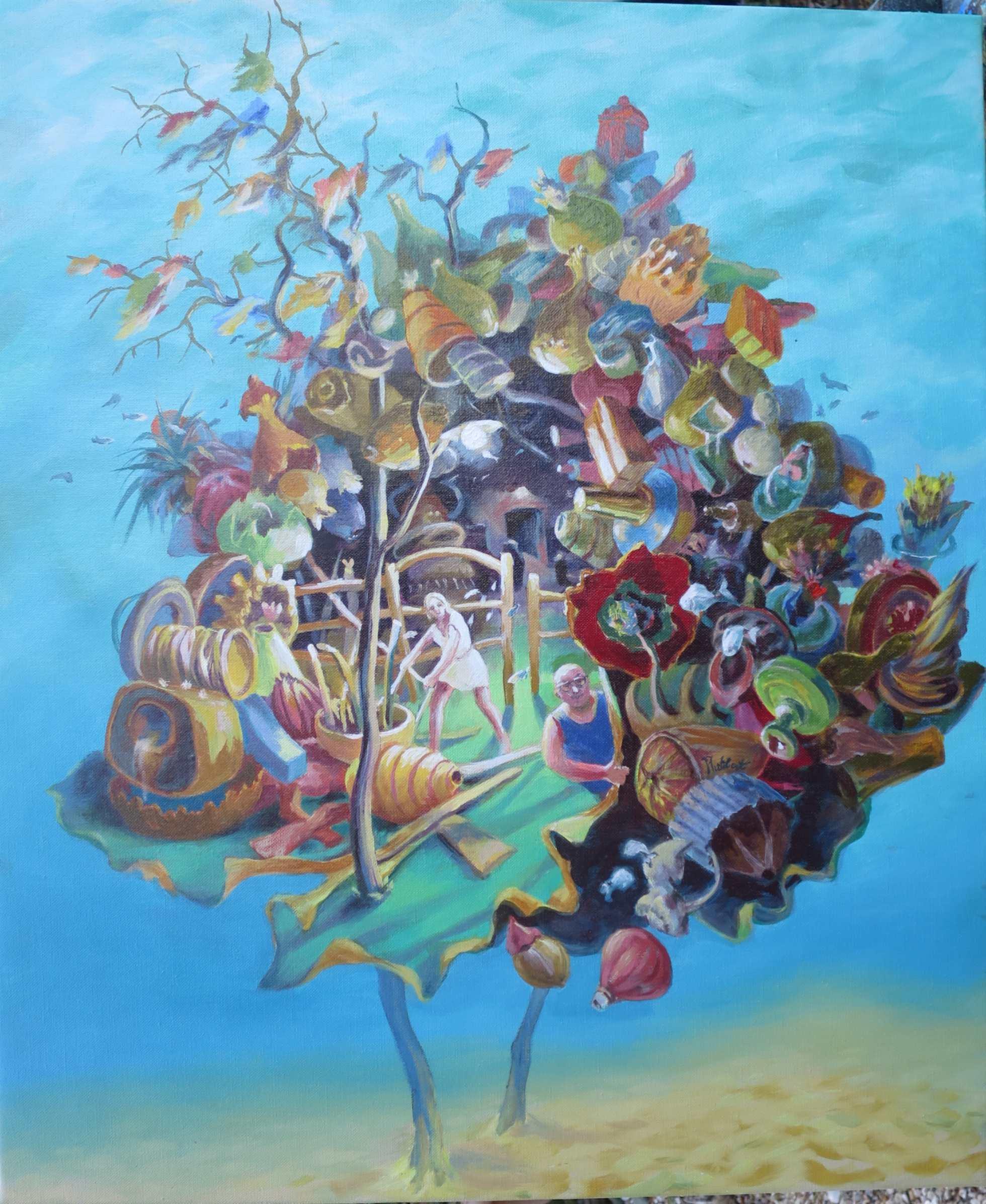 Le monde du silence, huile sur toile, 65 X 54cm, 2019